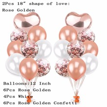 18pcs/lot 12 Inch Black Gold Pearl Latex Balloons With 18 Heart Wedding Birthday Party Decor Inflatable Air Ball Supplies