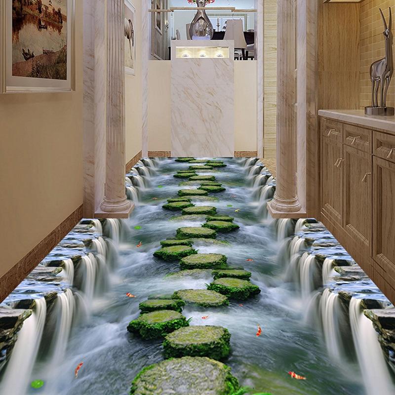 Custom Any Size 3D Floor Mural Wallpaper Waterfall Creek Bridge Bathroom Kitchen Living Room Walkway 3D Floor Sticker Waterproof