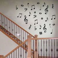 Hot selling 28 Vinyl MUSIC Musical NOTES Variety Pack Wall Decor Decal Sticker On Wall Decal Sticker Home Decor Art Mural