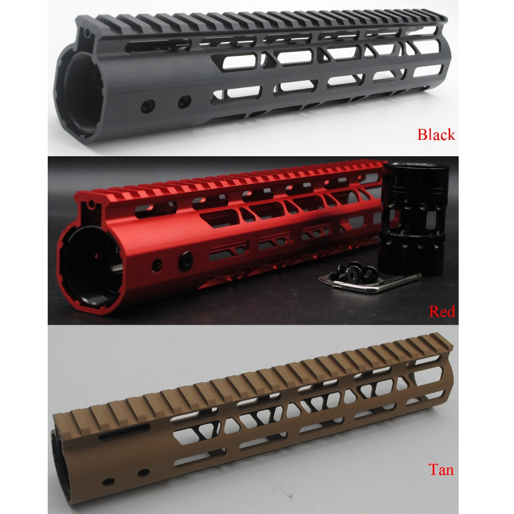 TriRock 10'' Inch Length M-lok Handguard Rail Free Float Mount System Black / Red / Tan Color Fit .223/5.56 Rifle Free Shipping