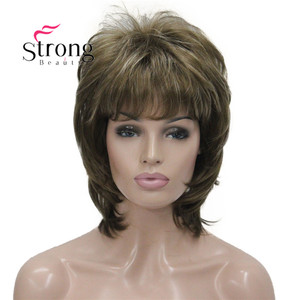 Image 2 - StrongBeauty Short Fluffy Layered Light Brown Highlighted Classic Cap Full Synthetic Wig Womens Hair Wigs COLOUR CHOICES