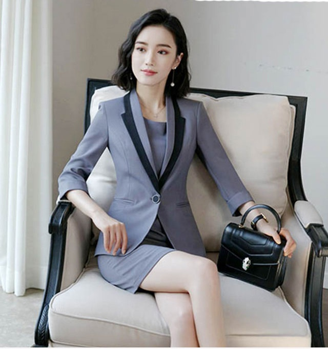 Hot Ladies Dress Suit for Work Full Sleeve Blazer Sleeveless Dress 2 Pieces Set 4