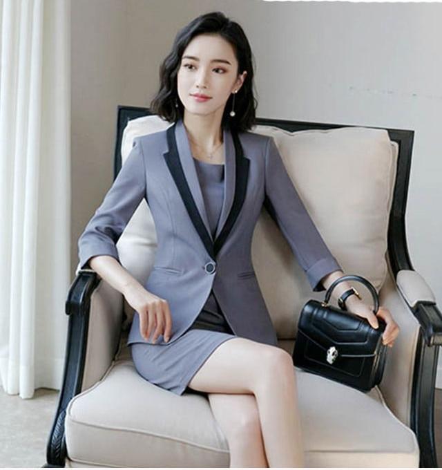 Hot Ladies Dress Suit for Work Full Sleeve Blazer Sleeveless Dress 2 Pieces Set 4