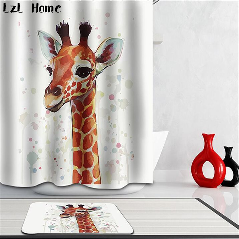 LzL Home 3D Shower Curtains Horse <font><b>Deer</b></font> Printed <font><b>Bathroom</b></font> Product Suit Waterproof Bath Curtain Non-slip Bath <font><b>Mat</b></font> Home Toilet Decor image