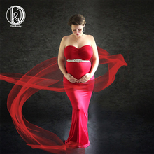 Don&Judy Maternity Dress Gown for Shoot Photo Red with Belt Maxi Pregnancy Dresses Clothes Sexy Photography Props