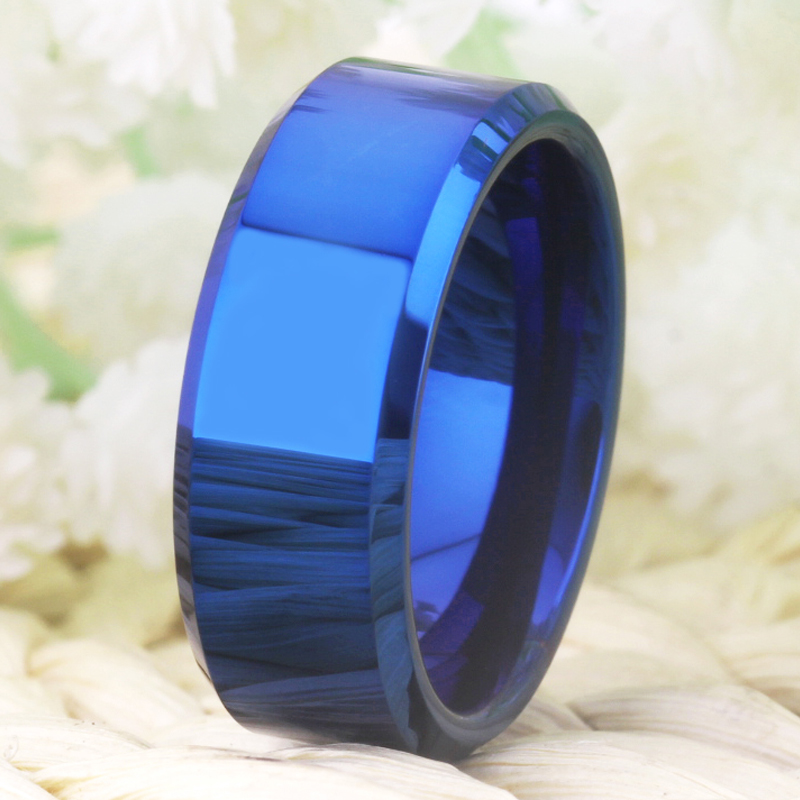 Image 3 - Drop Shipping Womens Wedding Band Ring Men Classic Blue Bevel Tungsten Ring Engagement Party Ring Gift Present for Women menWedding Bands   -