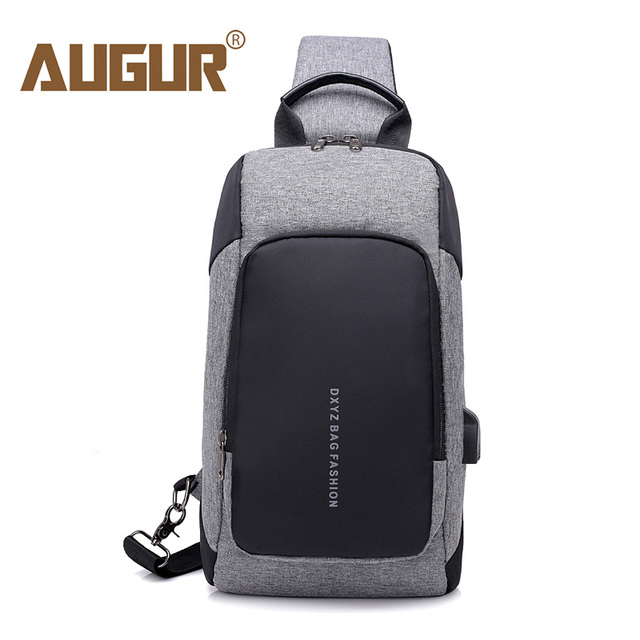 73b81db2cb3d AUGUR New Chest Bags Usb Charger Waterproof Shoulder Bag Male Small Chest  Pack Fashion Crossbody Sling