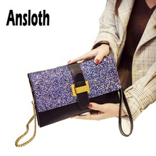Ansloth Luxury Sequin Clutch Bags For Women Quality PU Leather Shoulder Bags Lady Evening Party Bags Female Envelope Bags HS620 цена 2017