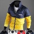 Новый Стиль Мужская Мода Осень И Зима Пальто Вскользь Активным Куртка Письмо Печати Color Matching Мужчины Куртки И Пиджаки