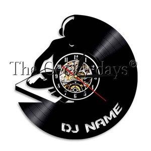 Image 4 - 1 adet DJ kişiselleştirilmiş özel ad vinil kayıt duvar saati Modern lamba duvar saati LED gece lambası Rock N rulo DJ hediye