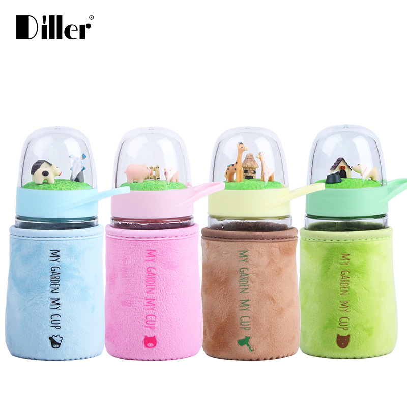 Diller 300ML Creative Glass Water Bottle Cartoon Animal Micro Landscape Fashion Portable Cotton Heat Insulation Botella Hot Gift
