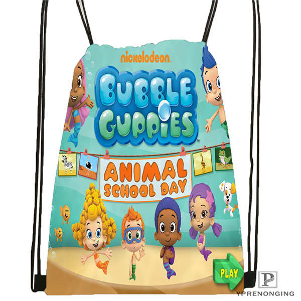 Custom Bubble-Guppies Drawstring Backpack Bag Cute Daypack Kids Satchel (Black Back) 31x40cm#180611-01-45