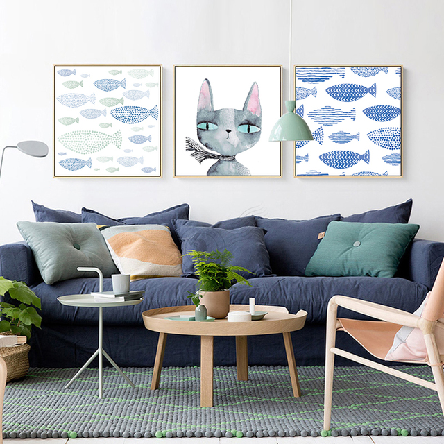 Canvas Art Print Painting Poster Wall Pictures For Home Nursery Decor Cute Cartoon Modern Fish Undersea