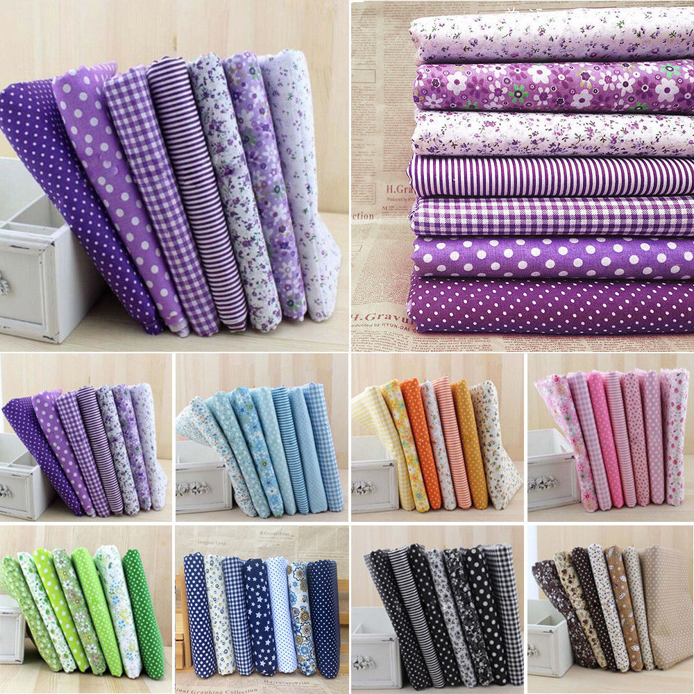 7pcs Cotton Cloth Sewing Patchwork Fabric Assorted Squares Pre-Cut Quilt Quarters Bundle 25*25cm For DIY Handmade Crafting Doll