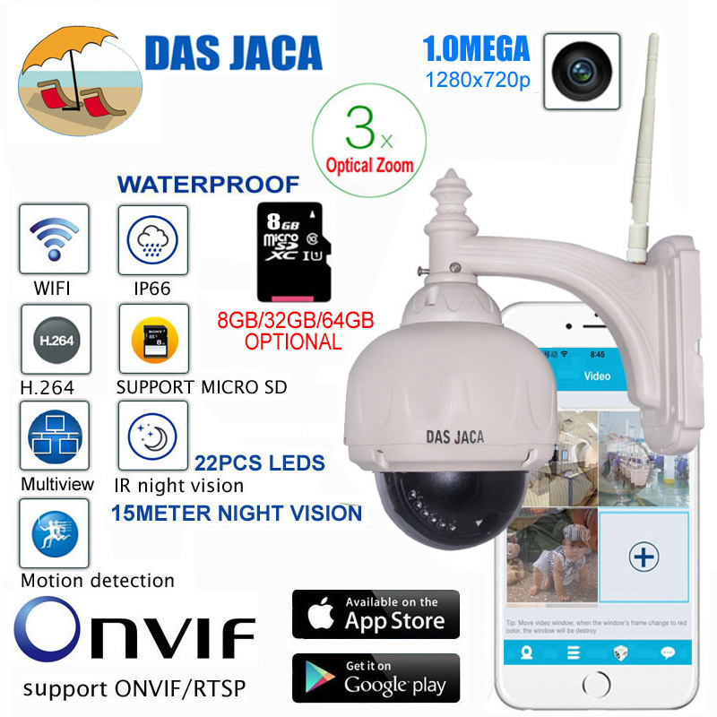 Das Jaca Optical Zoom 1.0mega Outdoor Camera WIFI PTZ Dome IP Surveillance Camera p2p 720p HD Night Vision CCTV Security Camera
