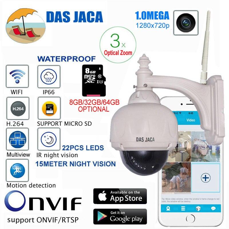 Das Jaca Optique Zoom 1.0 méga Caméra Extérieure WIFI PTZ Dôme IP Caméra de Surveillance p2p 720 p HD de Vision Nocturne de Sécurité CCTV caméra