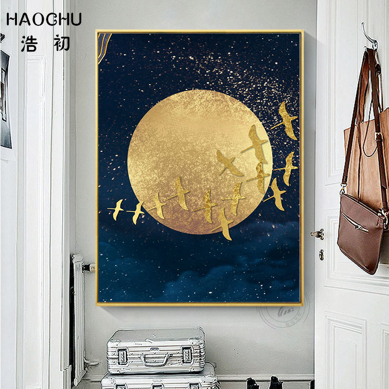 Image 5 - HAOCHU New Chinese Style Golden Moon Bird Abstract Auspicious Art Poster Print Picture Home Decor Wall Sticker Canvas Painting-in Painting & Calligraphy from Home & Garden