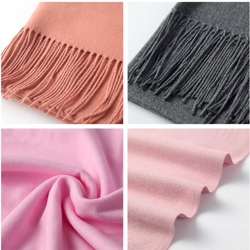 Женский зимний шарф 2019 натуральный кашемир шарфы толстая шея Теплая повязка для головы хиджаб Леди Шали Обертывания одеяло пашмины женский шарф