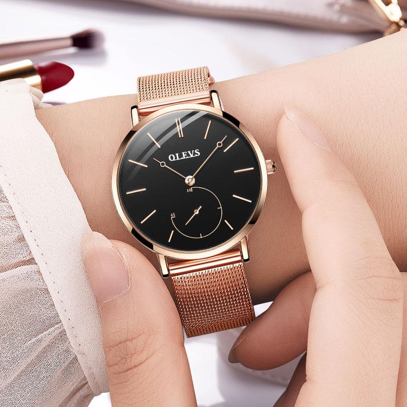 01a56659db47 Reloj Mujer Fashion Wrist Quartz Watch Women Black Casual Ladies Dress Watches  Rose Gold Mesh Stainless Steel Female Clock Uhr
