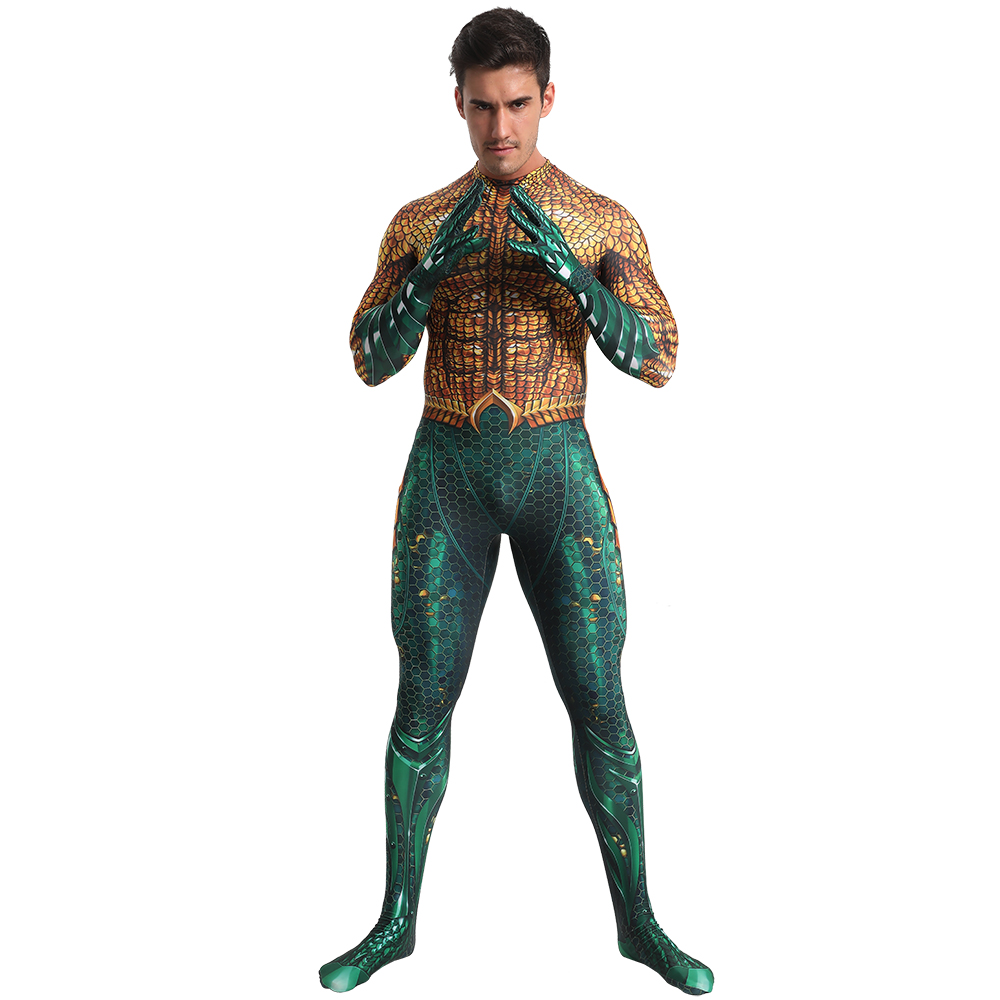 Movie Justice League Aquaman Cosplay Costume Anime Superhero Arthur Curry Orin Zentai Bodysuit Suit Jumpsuits For Kids Man