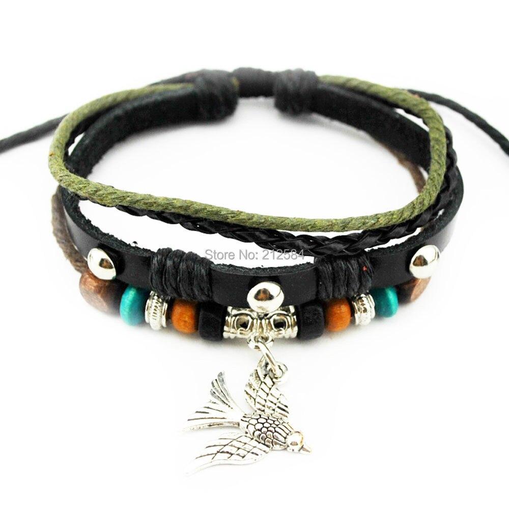 B434 Bird Fashion Handmade Surfer Hemp Leather Bracelet Man's Woman's Charm  Bracelet Wristband Adjustable Unisex Free Shipping
