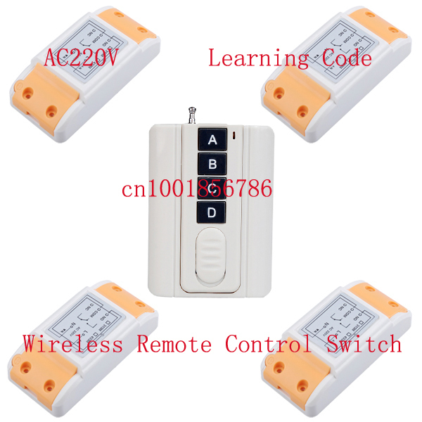 220V 10A 1CH 1500W wireless remote control system 4Receiver &1Transmitter smart home Learning code adjustable 315/433MHZ switch