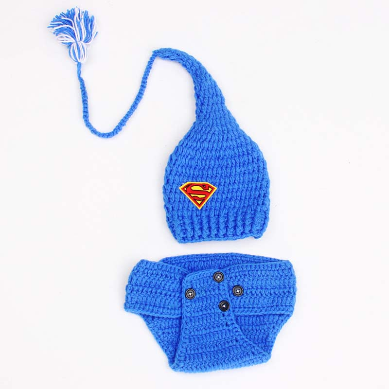 Crochet Long Tail Baby Elf Hat With Diaper Cover Set Superman