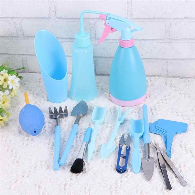 WINOMO 19 шт. набор инструментов для садоводства пластиковый суккулент в горшке чайник щетка Лопата мини садовый набор инструментов для посадки (синий)