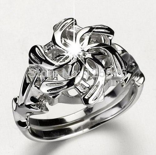 Stunning LOTR The Galadriel Nenya Charm Stone 5A Zircon stone 925 Soild Sterling Silver  ...
