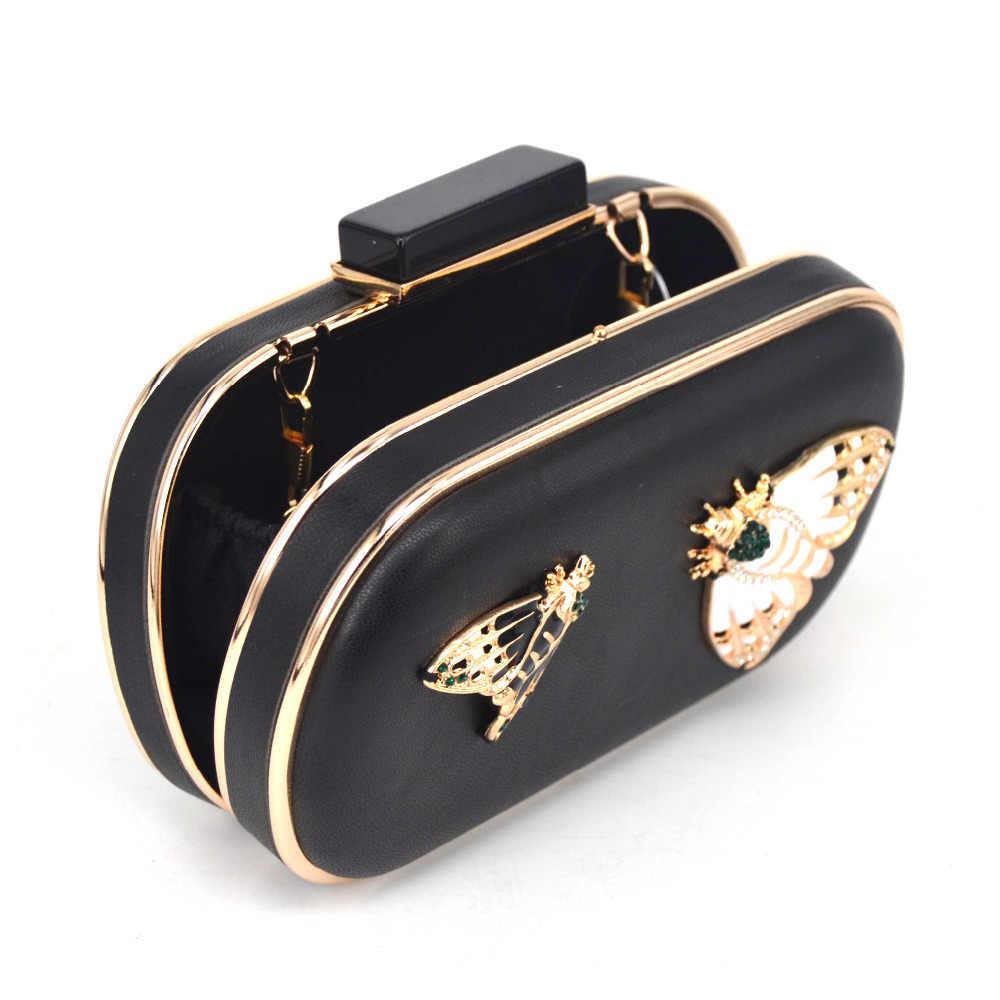 Merek Desain Serangga Pola Biru PU Kopling Malam Tas Wanita Rantai Mini Tas Tangan Fashion Butterfly Pesta Tas Kopling Z88