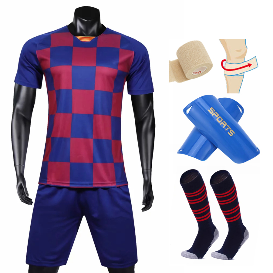 LOGO Custom 2019 2020 Home Soccer Jerseys Men Kids Soccer Sets +Socks +Shin leggings football uniform kits 02A2LOGO Custom 2019 2020 Home Soccer Jerseys Men Kids Soccer Sets +Socks +Shin leggings football uniform kits 02A2