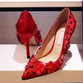 High Heels Leather Floral Pointed Women s Wedding Party Shoes Pumps Star s  Style Silk Slip-on Women Shoes Black Red pumpsUSD 99.90 pair 1106fce77dd6