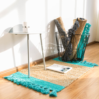 Jute hand woven small fresh hall kitchen floor mat living room carpet rug 60cmx90cm