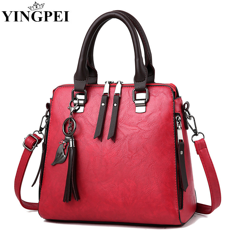 все цены на YINGPEI Women Handbags Top-Handle Shoulder Bag Fashion Casual Bag 2018 Cat PU Leather Ladies Spring Famous Brands Black Tote New