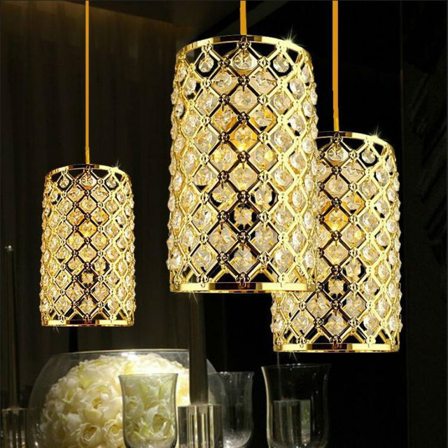Crystal Gold Pendant Lamps E27 Led Chandelier Suspended Light For Kicthen Dinning Room Res Luminary