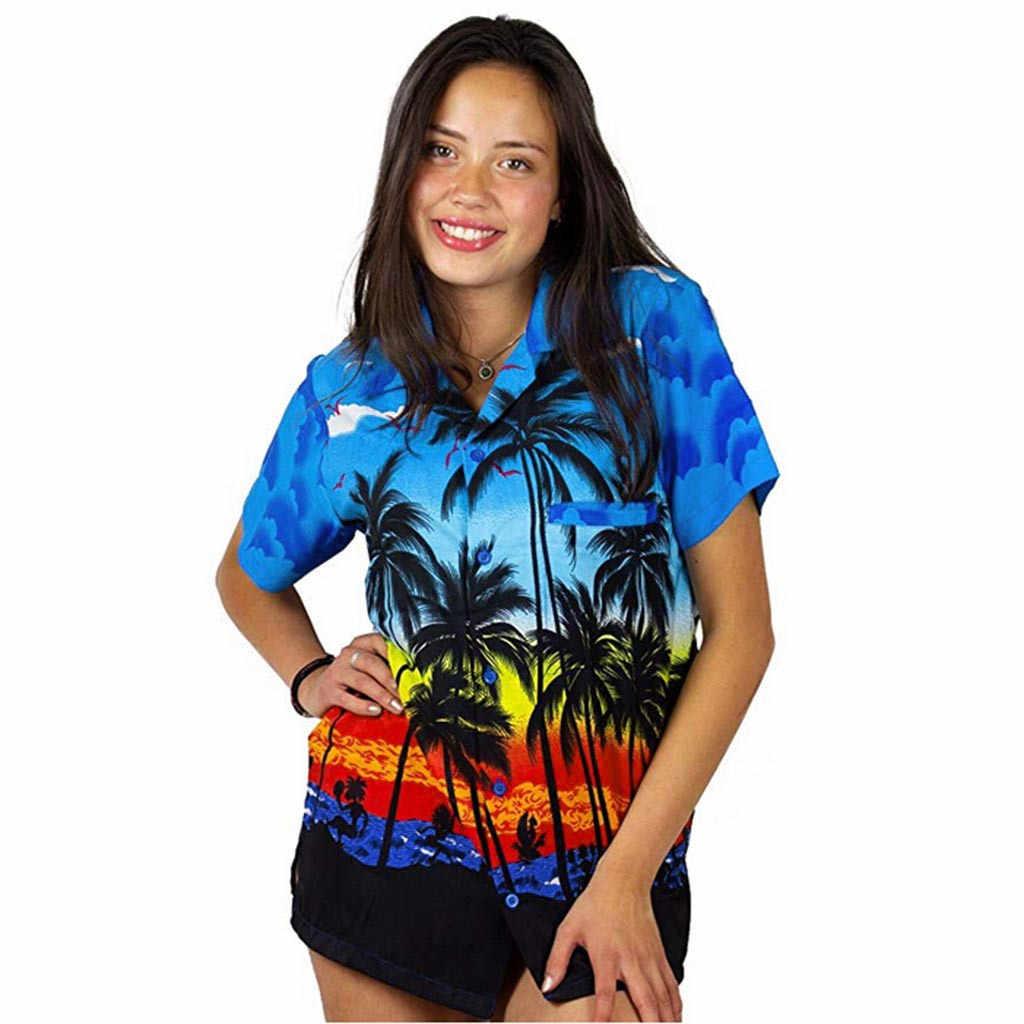Feitong/Женская блузка Chemister, Пляжная гавайская рубашка с коротким рукавом, передним карманом и отложным воротником, с пляжным цветочным принтом, блузка, топ, футболка