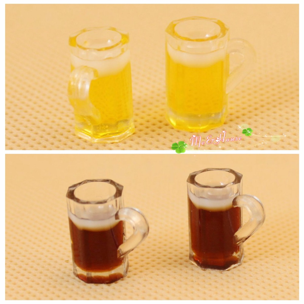 Wholesale 1:12 Dollhouse Miniature Mini Beer Mug Bottle Doll Accessories Toy For Forest Animal Family Collectible Gift