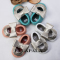 2017 Newest silver Side Bow Mary Jane Genuine Leather Lace Flower Baby Moccasins Baby Princess Soft Bottom Toddler Shoes