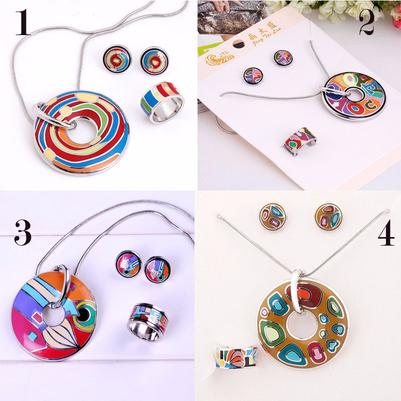 Star Product Big Discount Promotion 20 Styles Rainbow Colorful Enamel Jewelry Set ,1set/pack(China)