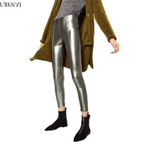 LXMSTH Women Leggings 2017 Autumn New Women S PU Leather Pants Black Silver Sexy Slim Hip