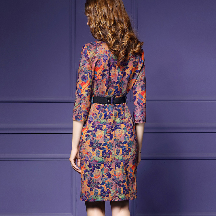 77851ecb62 H Trendy Luksusowe Społecznej Sukienka Midi Vintage Biuro Sukienka Drukuj  Wiosna Jesień Panie Suknie 2019 Kobiety Odzież 3XL marka XXL w Lguc.