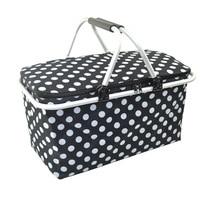 Camping picnic bag Aluminum alloy frame outdoor Insulation picnic basket portable fridge beer ice box family picnic tableware