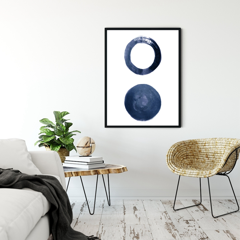 Indigo wall art print living room decor