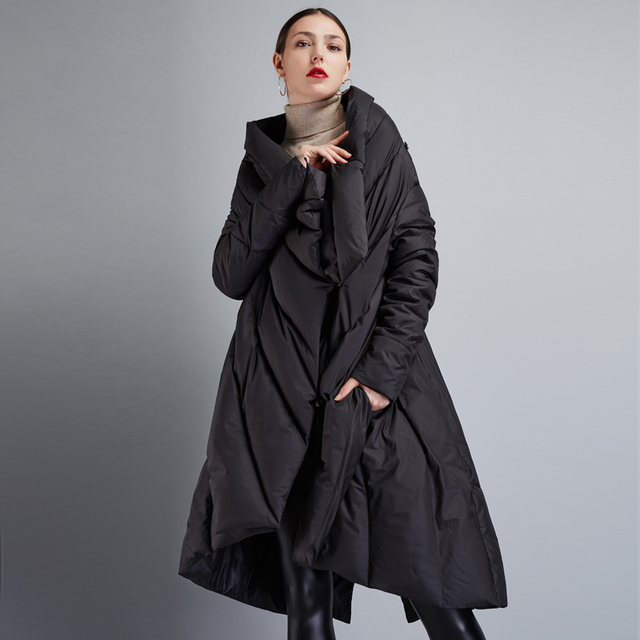 674a7ed996ec High Quality 2018 Winter Women s European Design Runway Fashion Asymmetric  Length Long Down Coat High-end Brand Down Jacket