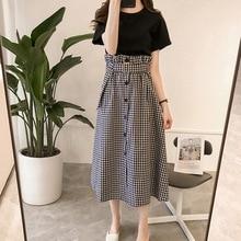2 Pcs/Set Fashion Plaid Sashes Skirt + Casual Basic Tee Shirt Women's Suit High