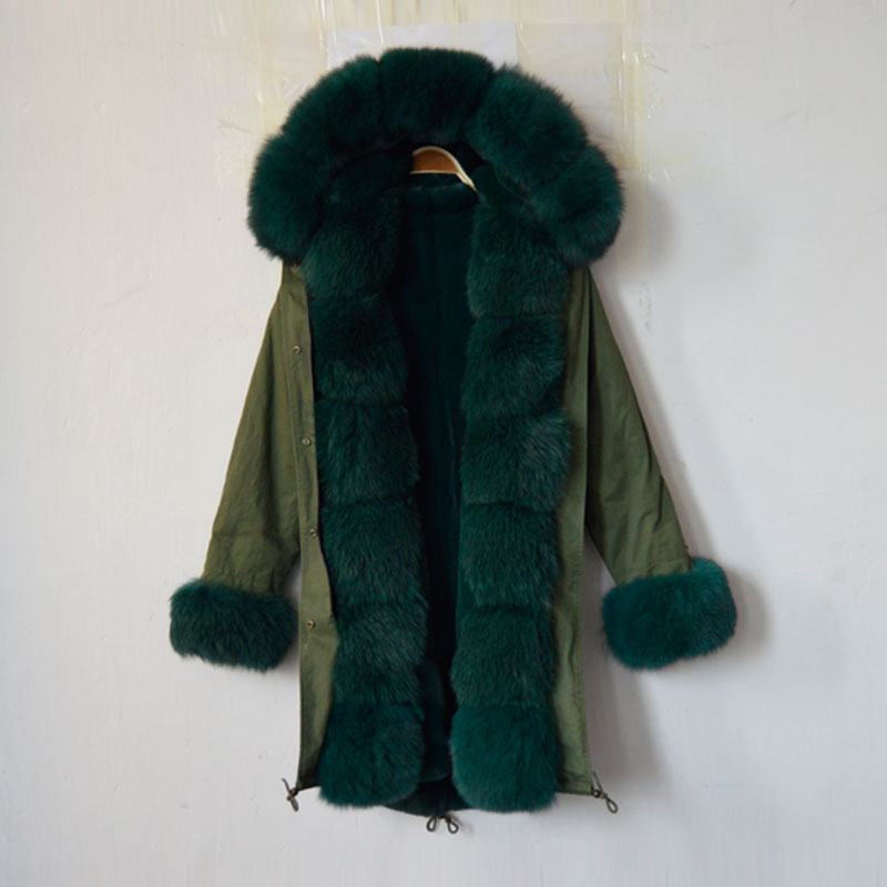 New fashion arrival 2016 snake beading long women coat dark green faux fur lining jacket