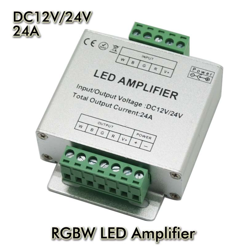 LED RGBW Amplifier Aluminum Shell 4CH Amplifier DC12V Input, 24A Current 3528&5050 SMD RGB+W LED Strip Light