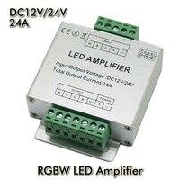 LED RGBW Amplifikatör Alüminyum kabuk 4CH amplifikatör DC12V Giriş, 24A Akım 3528 ve 5050 SMD RGB + W LED Şerit Işık