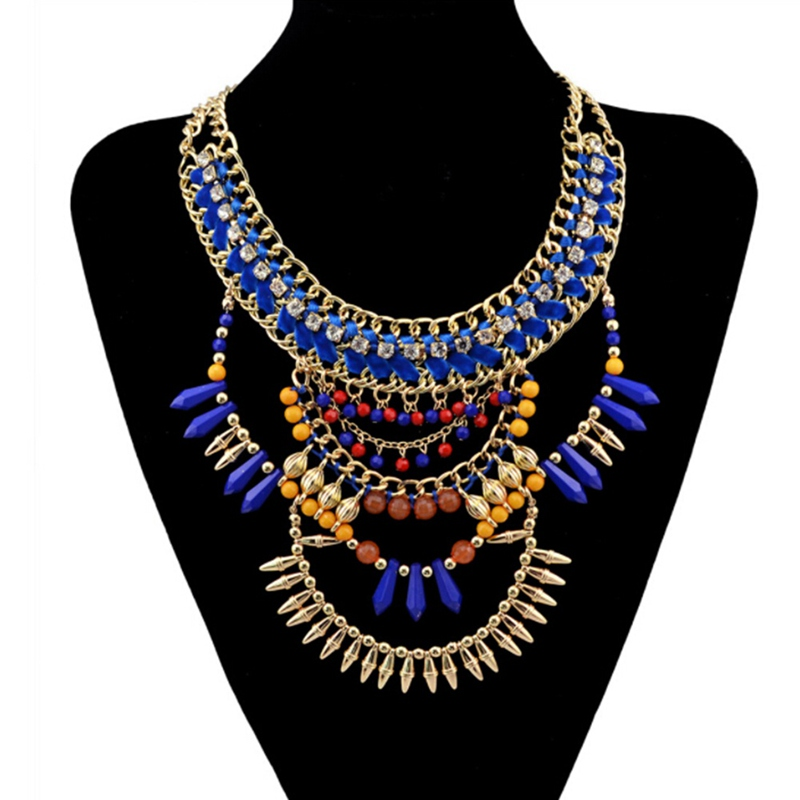 European style gold handmade braid rhinestone chunky chain blue brown beads rivet tassel charms bib statement necklace