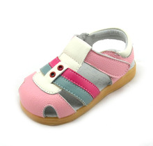100% kids genuine leather sandals velcro T-strap with eyelets blue brown pink navy wholesale retail